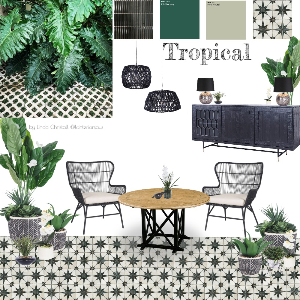 Tropical Dining Interior Design Mood Board by LC Interiors on Style Sourcebook