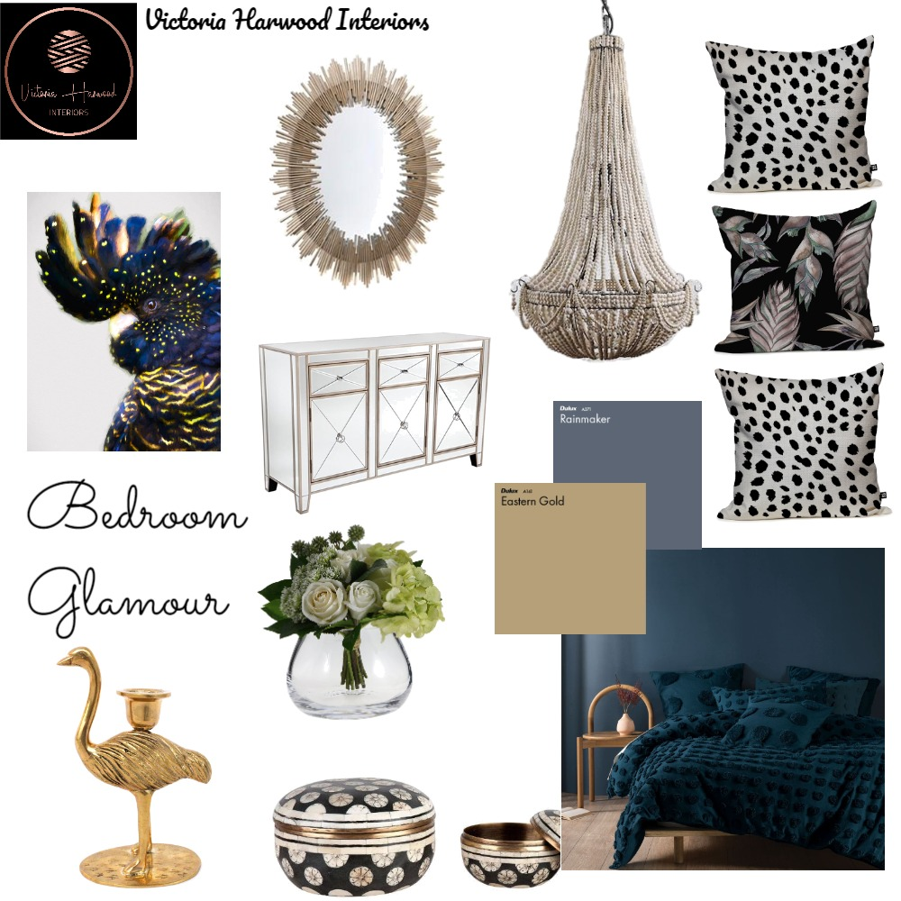 Bedroom Glamour Interior Design Mood Board by Victoria Harwood Interiors on Style Sourcebook