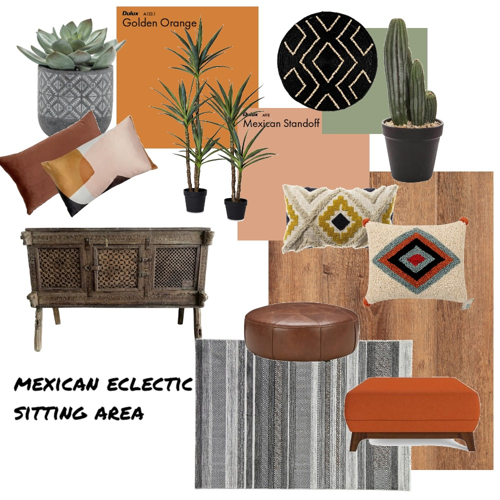 mexican eclectic sitting area Interior Design Mood Board by The Eye Interiors on Style Sourcebook