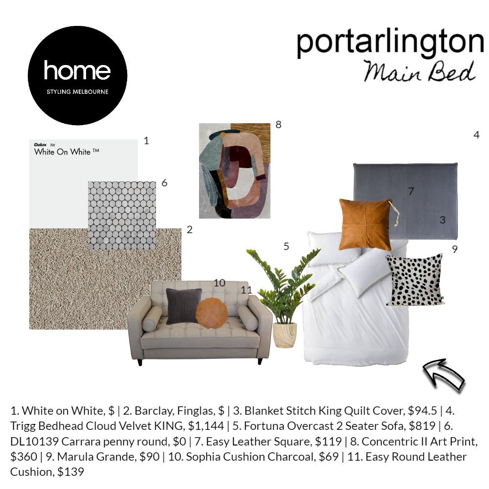 Portarlington Main Bedroom Interior Design Mood Board by Home Styling Melbourne on Style Sourcebook
