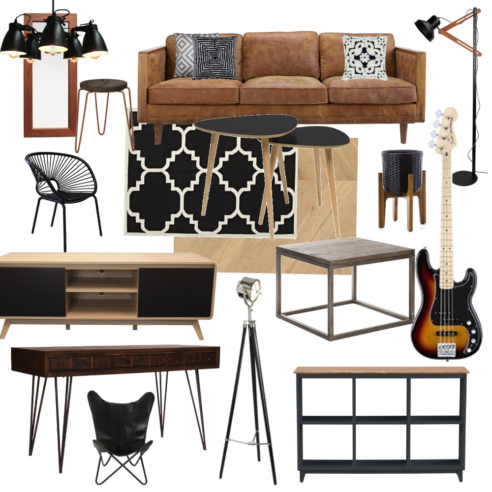Obývák hnědá sedačka kov dřevo kytara Interior Design Mood Board by Martina.tp on Style Sourcebook