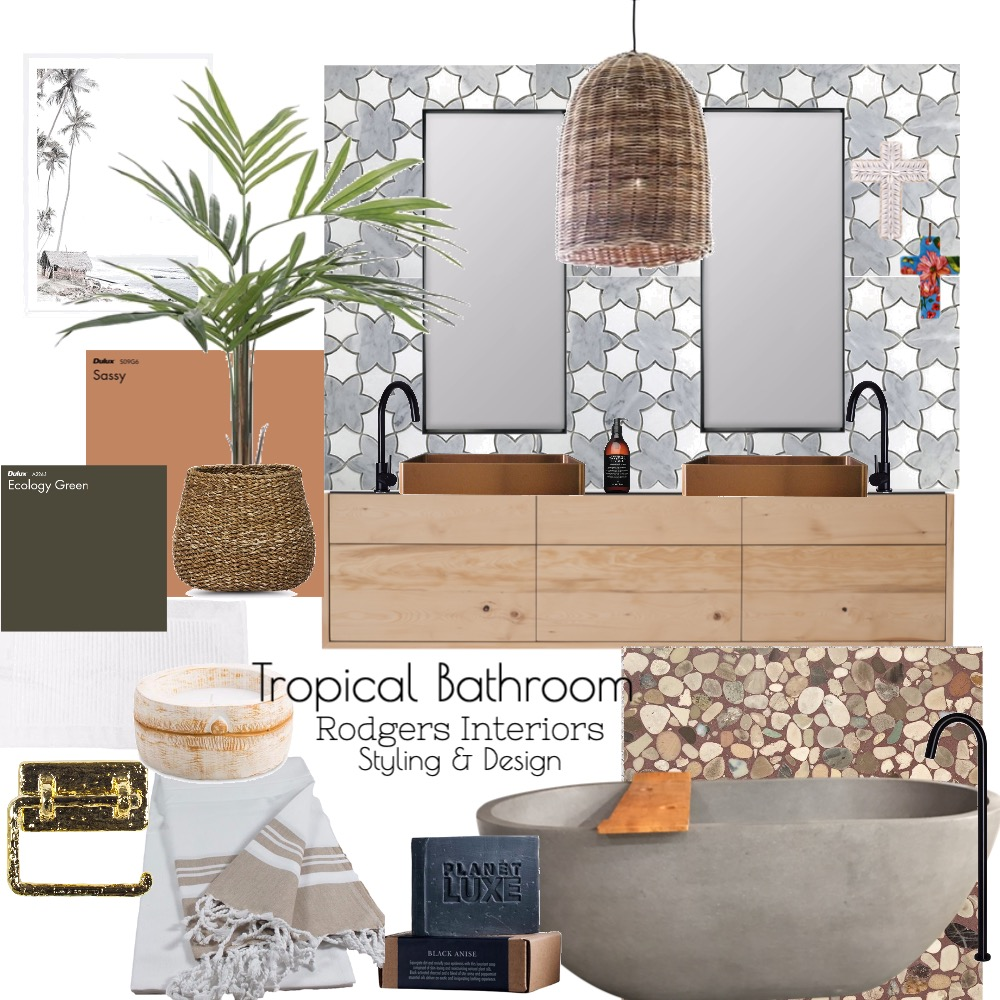 Tropical Bathroom Interior Design Mood Board by Rodgers Interiors Styling & Design on Style Sourcebook