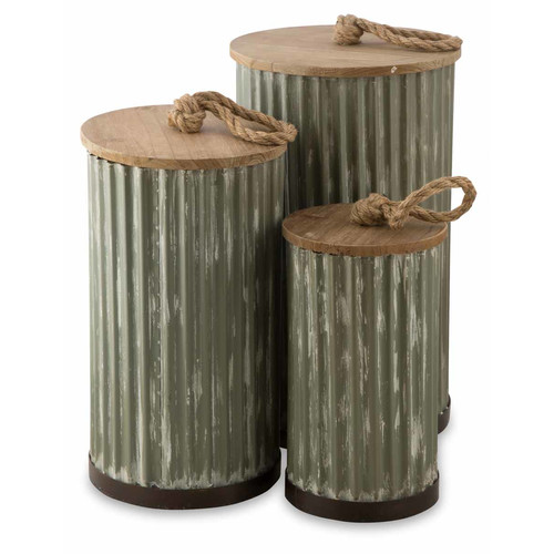 Set of 3 Metal Storage Boxes with Wooden Lids by Temple & Webster, a Baskets & Boxes for sale on Style Sourcebook
