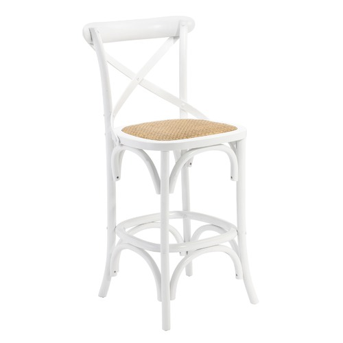 Bella 65cm Cross Back Bar Stool Colour: White by Temple & Webster, a Bar Stools for sale on Style Sourcebook