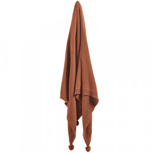 Pom Pom Knitted Cotton Throw Colour: Rust by Temple & Webster, a Blankets & Throws for sale on Style Sourcebook