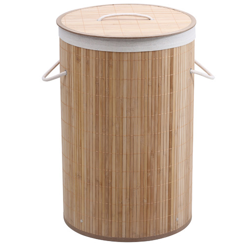 Round Helix Folding Bamboo Laundry Hamper by Temple & Webster, a Laundry Bags & Baskets for sale on Style Sourcebook
