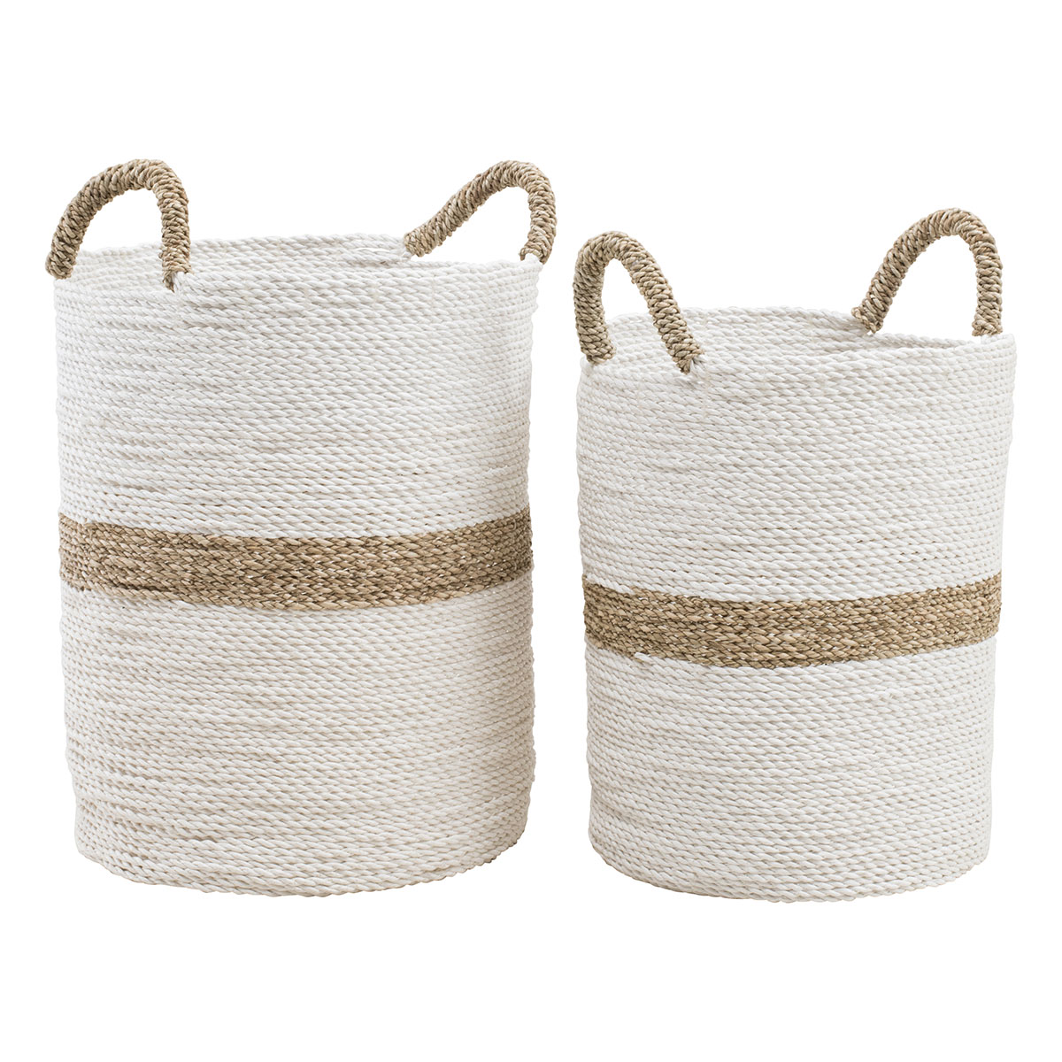 Artisan Stripe Baskets Set of 2 in White/Natural by OzDesignFurniture, a Baskets & Boxes for sale on Style Sourcebook