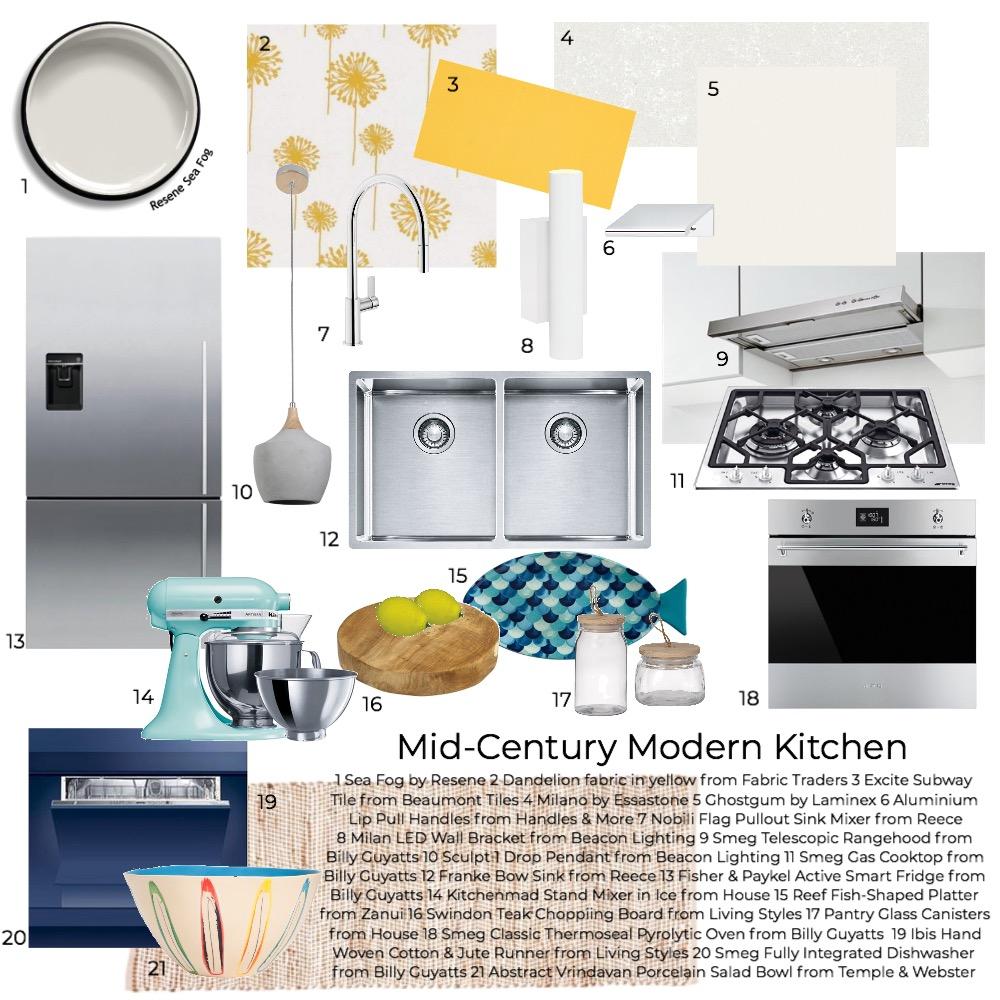 Mid-Century Modern Kitchen Interior Design Mood Board by mistie on Style Sourcebook