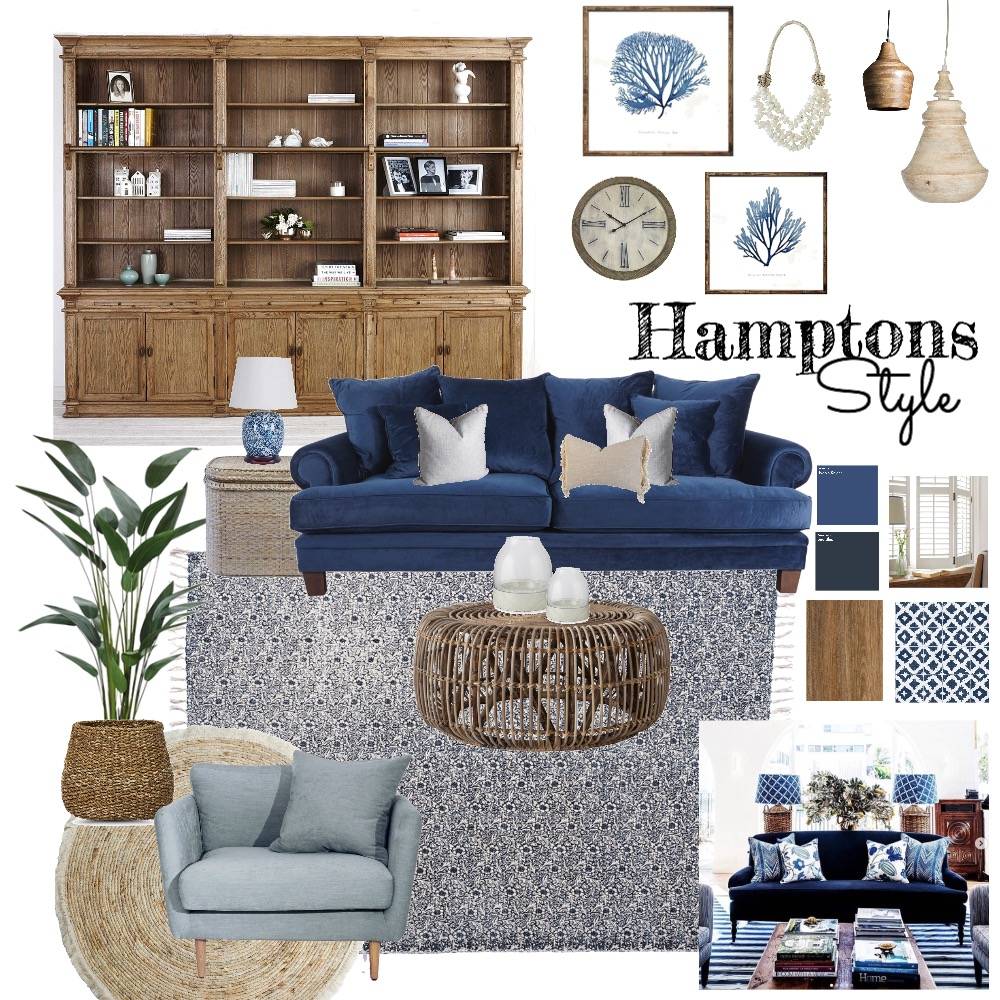 Hamptons Style Living Room Interior Design Mood Board by fionajane on Style Sourcebook