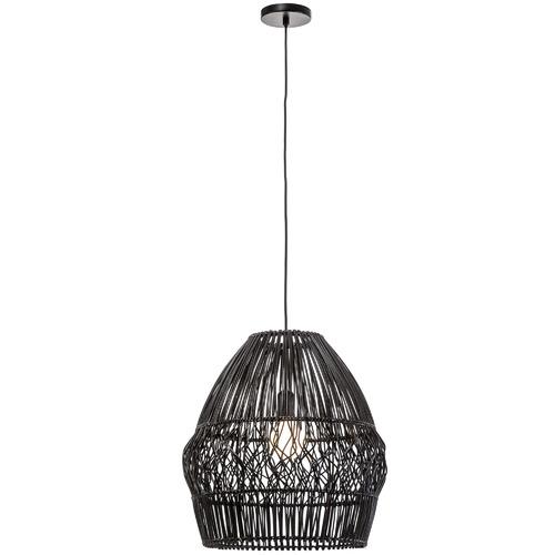 Archer Rattan Pendant Light Colour: Black, Size: 45 x 40 x 40cm by Temple & Webster, a Pendant Lighting for sale on Style Sourcebook