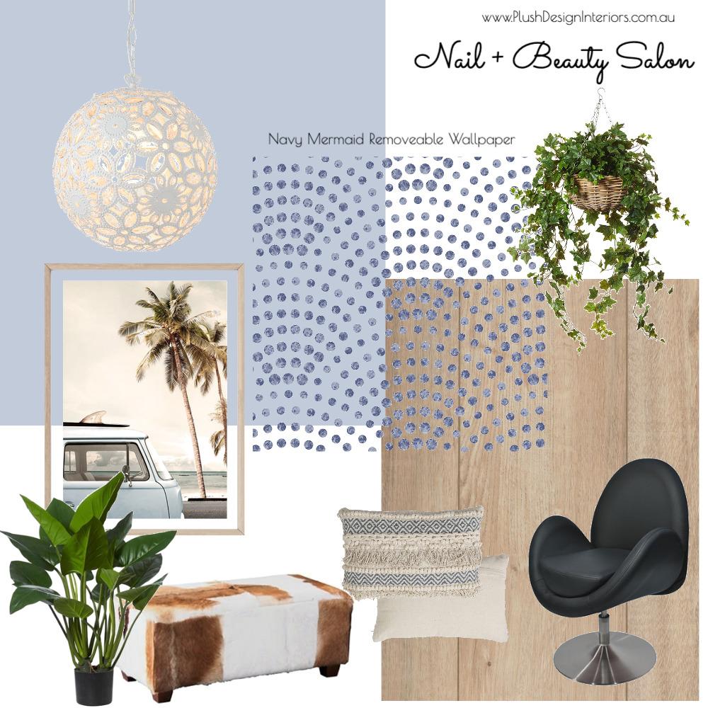 Beautilicious Nail + Beauty Salon 'Blue Boho' Interior Design Mood Board by Plush Design Interiors on Style Sourcebook