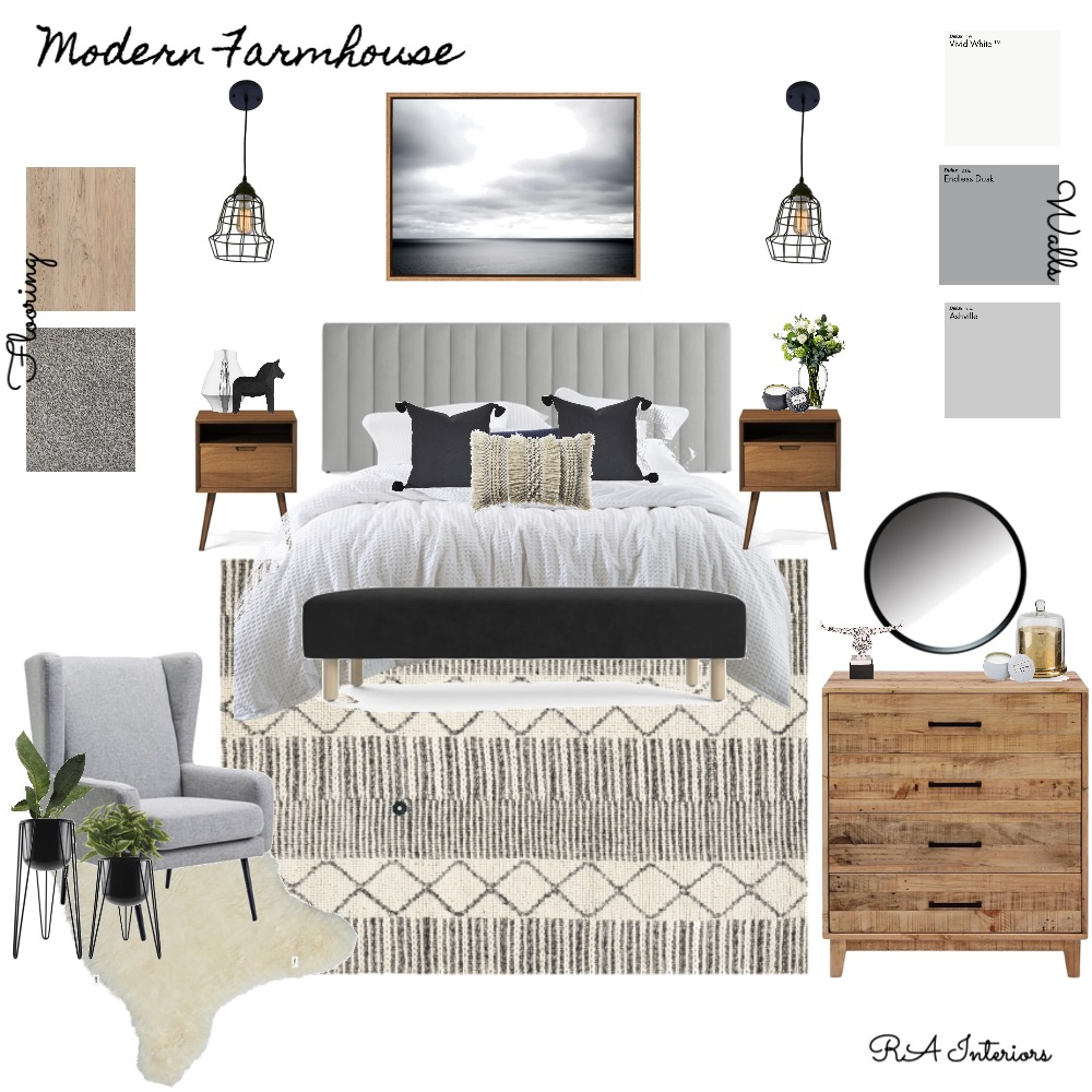 Modern Farmhouse Bedroom Interior Design Mood Board by RA Interiors on Style Sourcebook