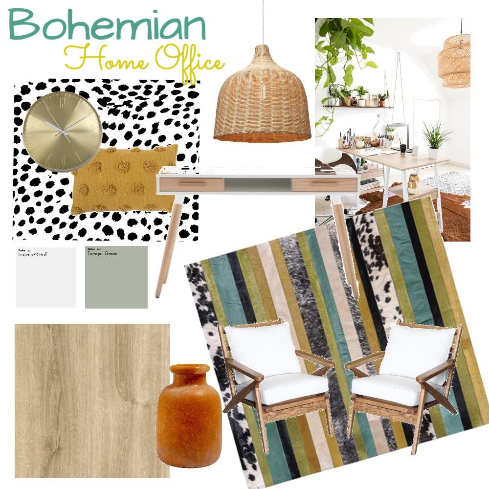 Boho Home Office Interior Design Mood Board by miacarella on Style Sourcebook