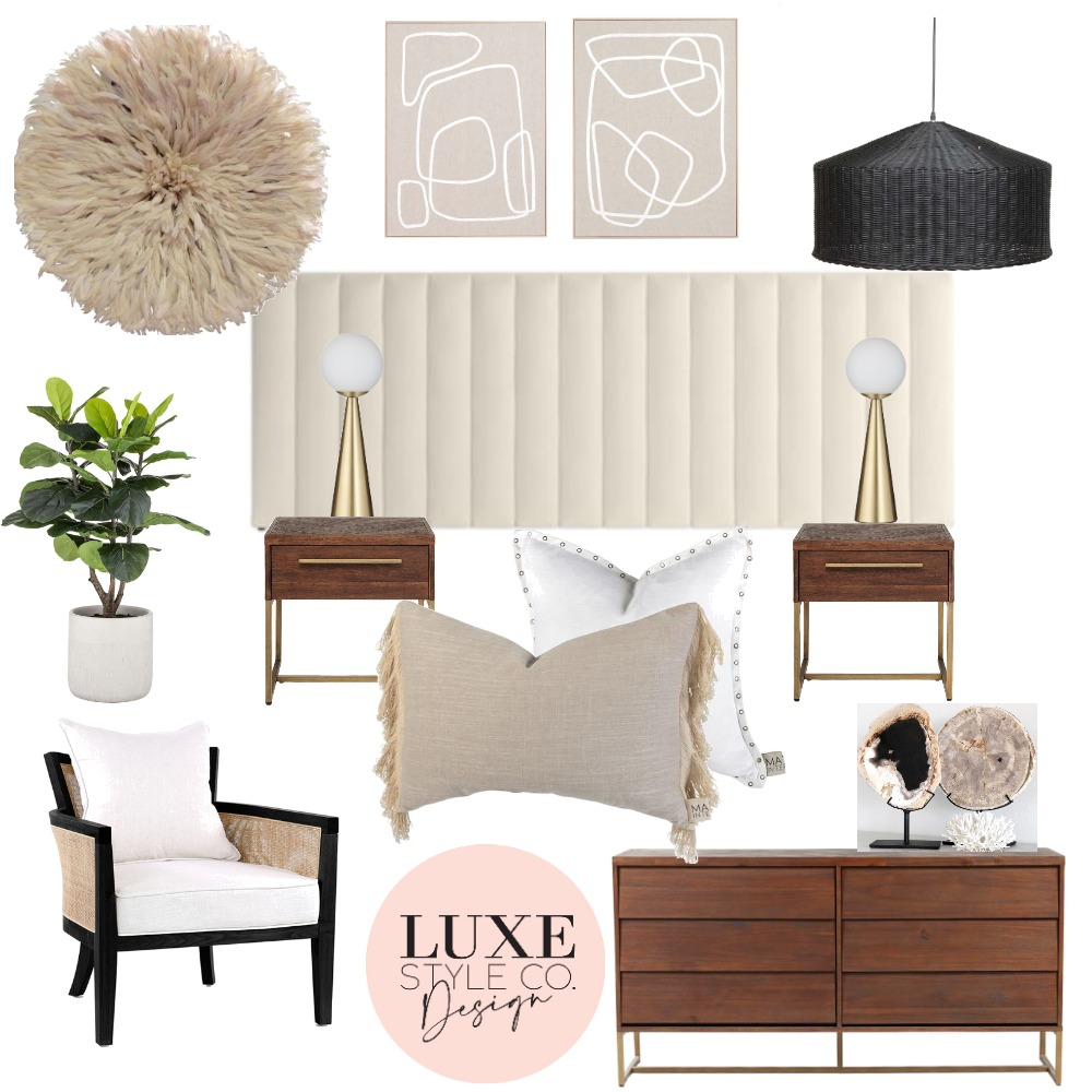 Contemporary Elegant Bedroom Interior Design Mood Board by Luxe Style Co. on Style Sourcebook