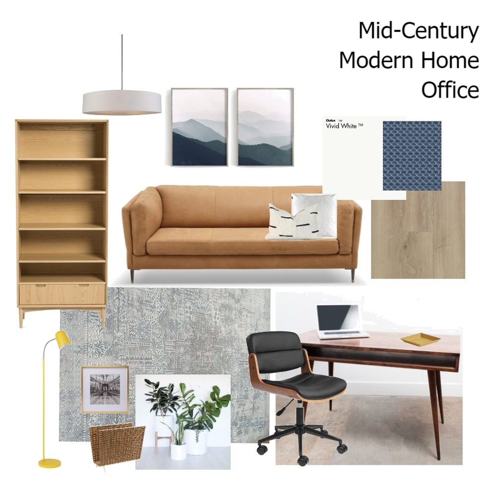 Mid Century Home Office Interior Design Mood Board by anipah on Style Sourcebook