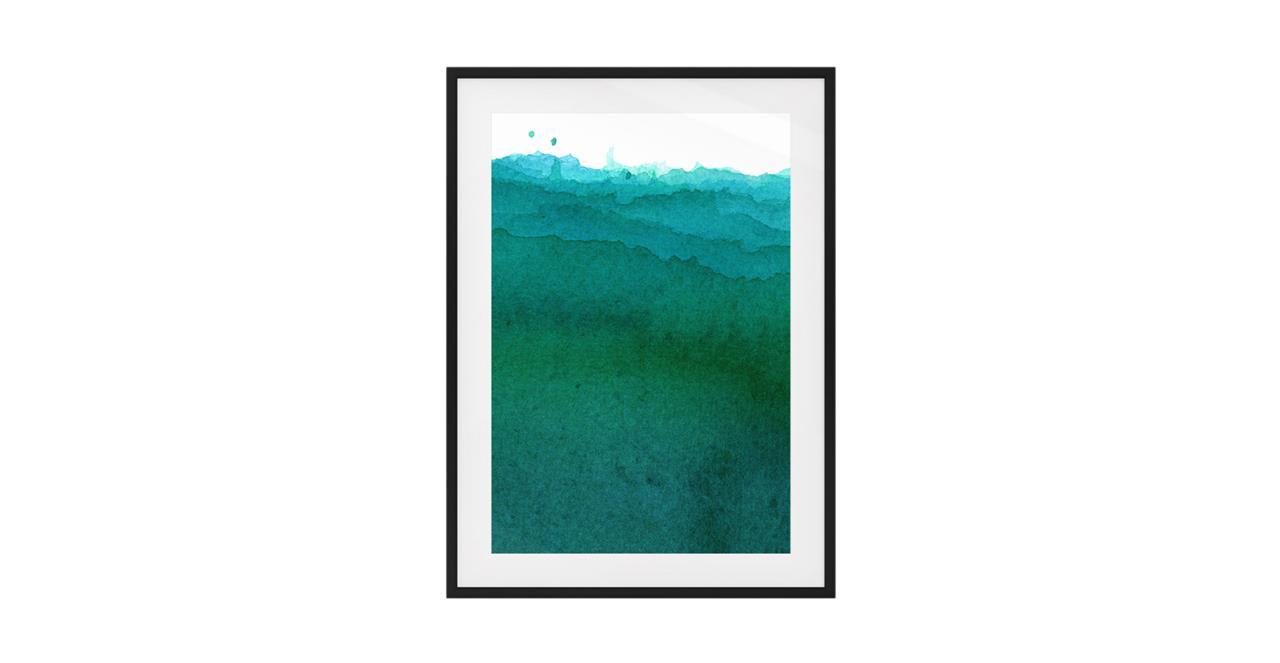 The Cyan Print Black Wood Frame Small Ocean