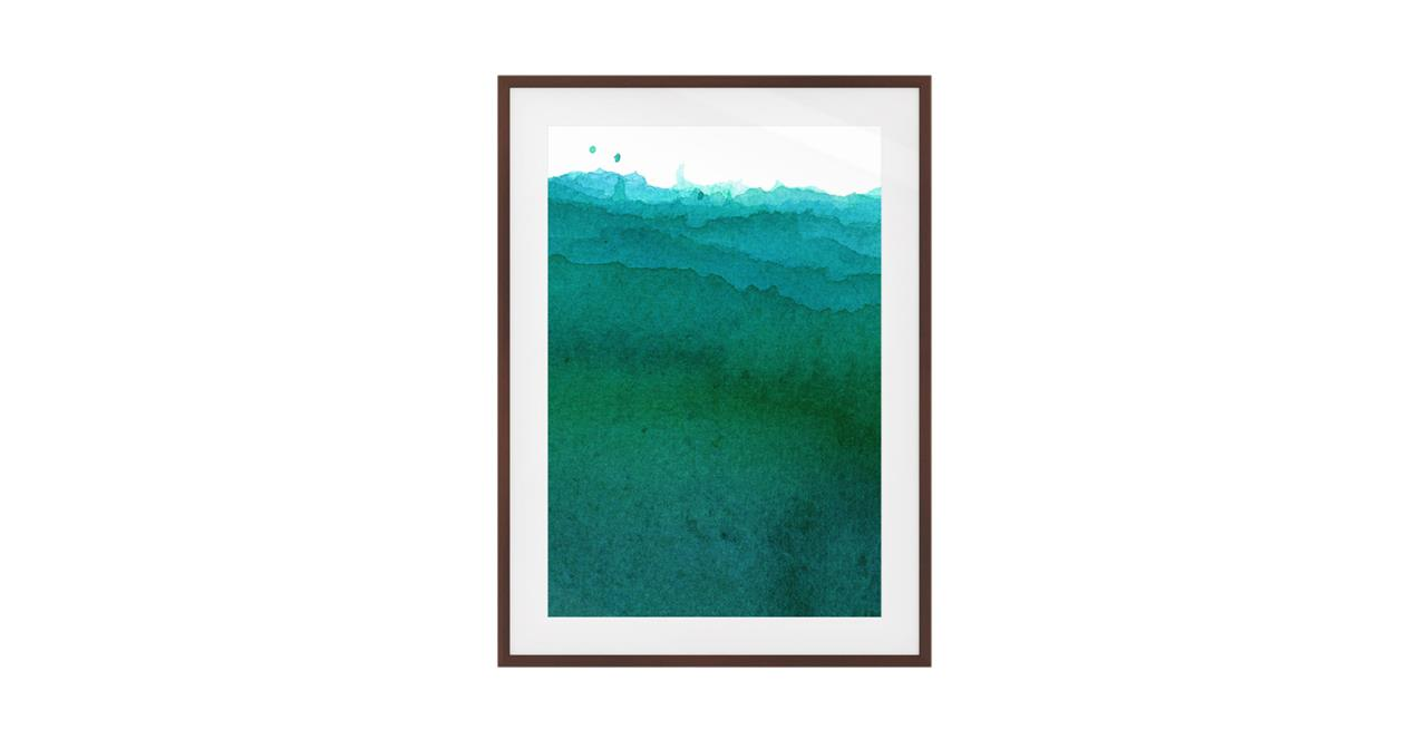 The Cyan Print Dark Brown Wood Frame Small Ocean