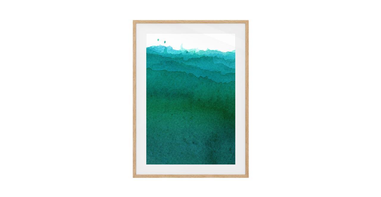 The Cyan Print Natural Wood Frame Medium Ocean