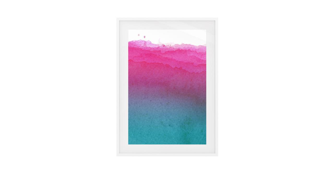 The Cyan Print White Wood Frame Medium Magenta