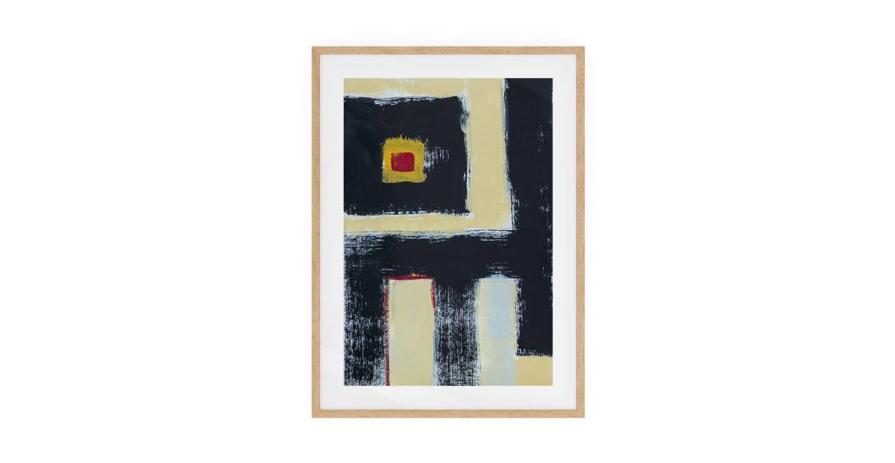 The Farbe Print Natural Wood Frame Small Black