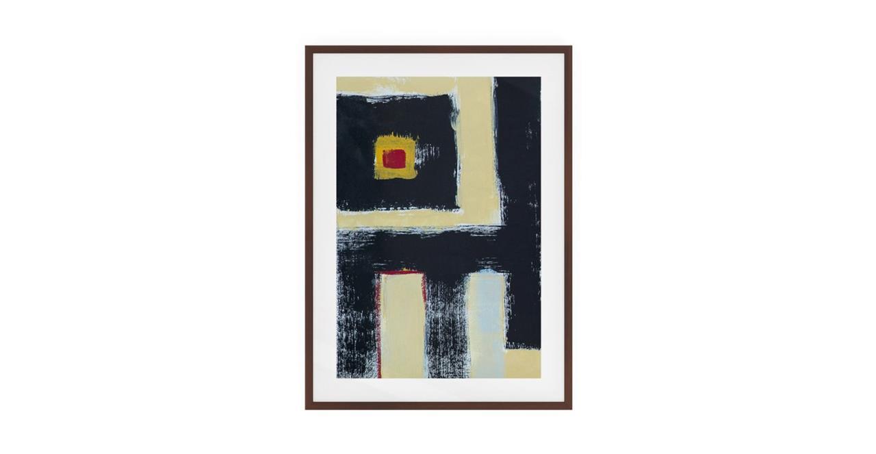 The Farbe Print Dark Brown Wood Frame Small Black