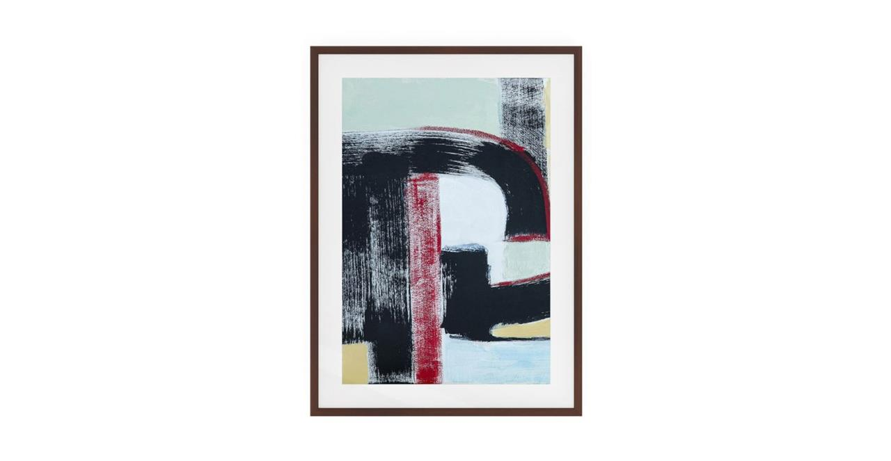 The Farbe Print Dark Brown Wood Frame Medium Red