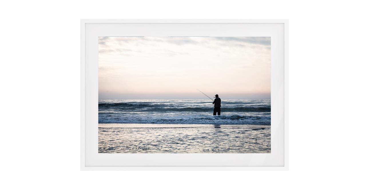 The Ocean Print White Wood Frame Small