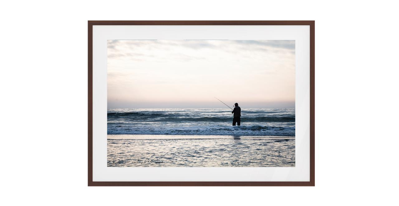 The Ocean Print Dark Brown Wood Frame Small