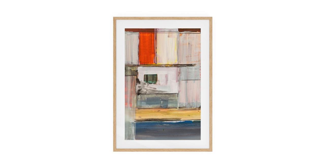 The Panels Print Natural Wood Frame Medium Red