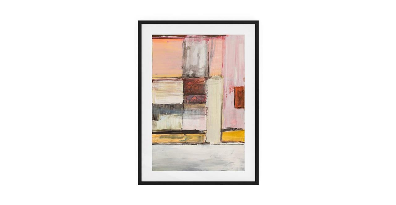 The Panels Print Black Wood Frame Medium Pink