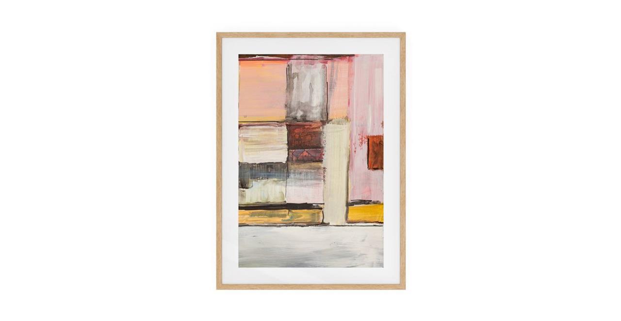 The Panels Print Natural Wood Frame Medium Pink