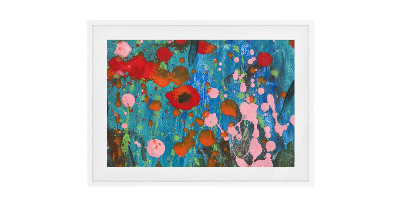 The Papaver Print White Wood Frame Small