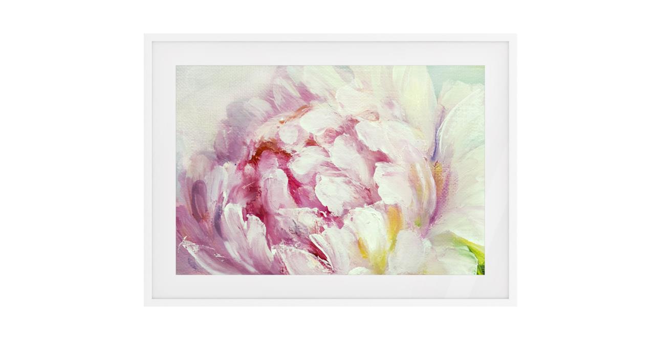 The Petal Print White Wood Frame Medium