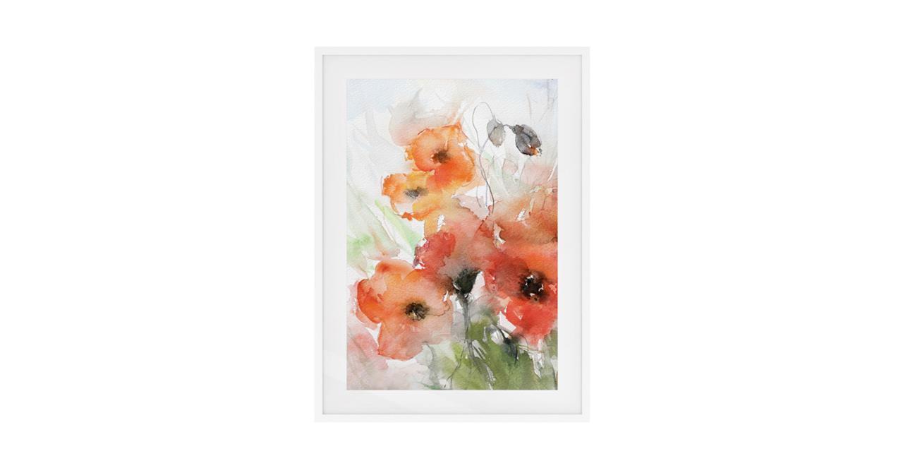 The Poppy Print White Wood Frame Small