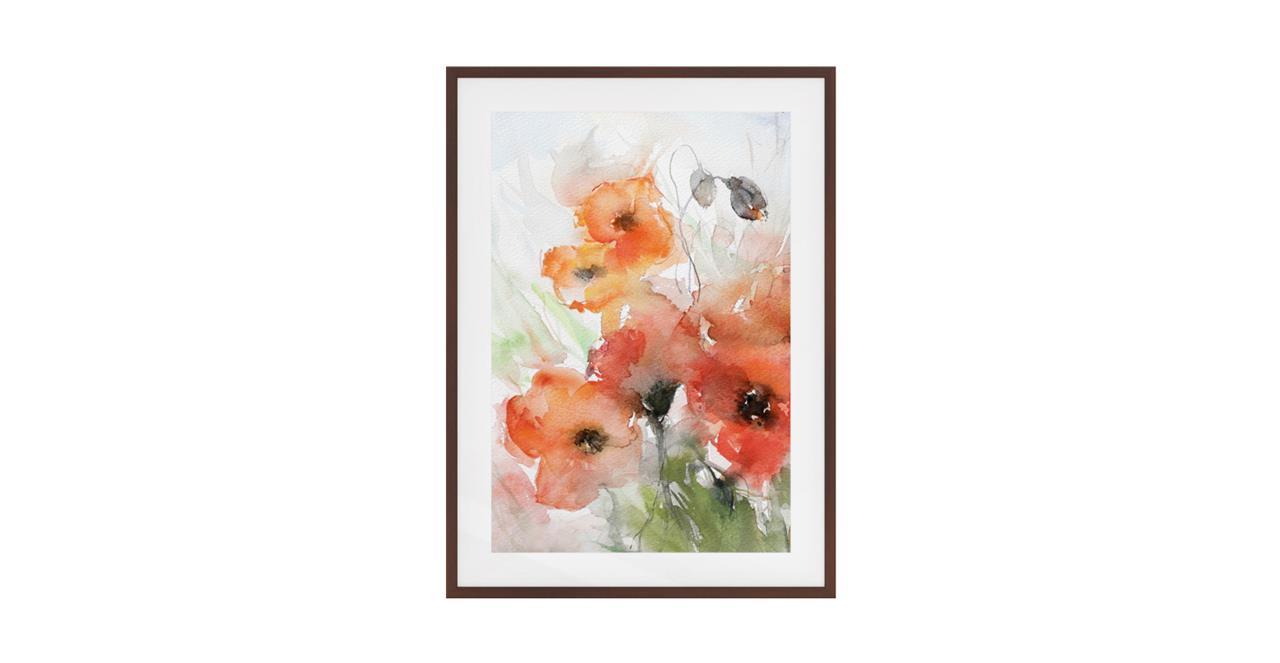 The Poppy Print Dark Brown Wood Frame Small