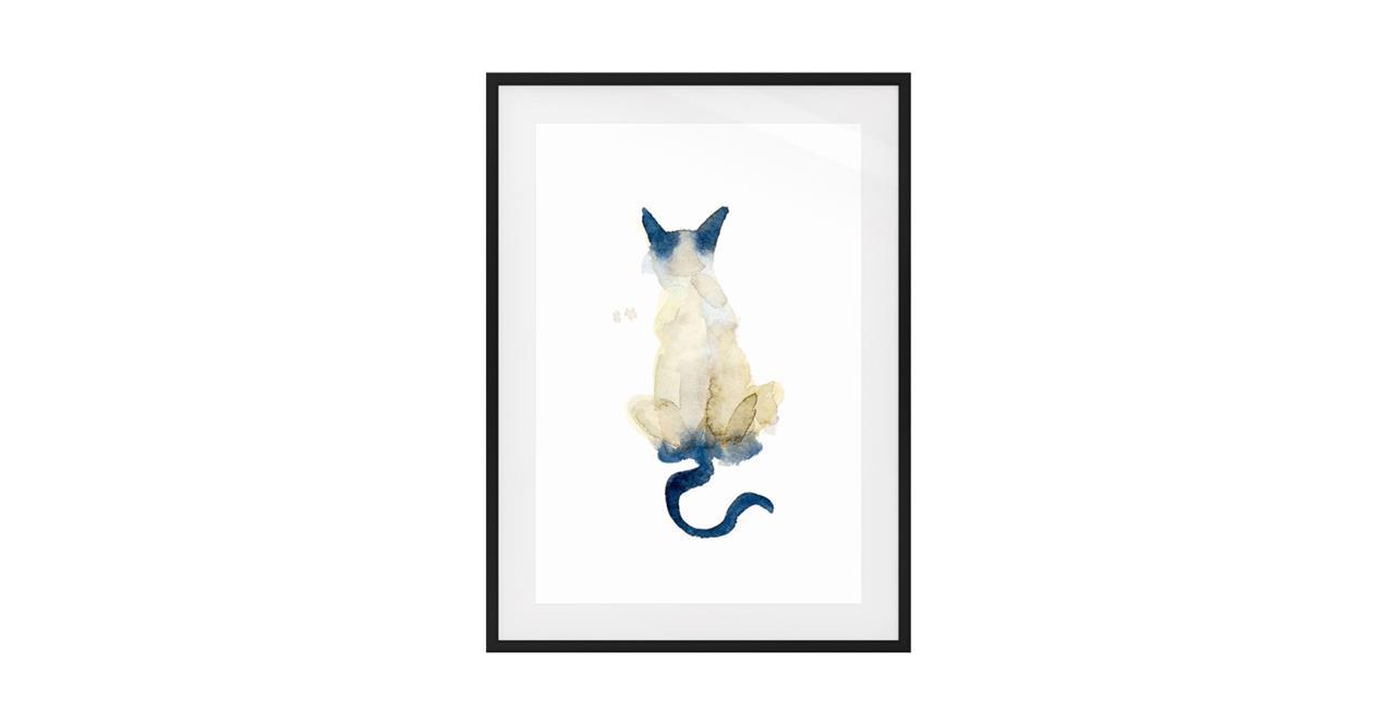 The Porcelain Cat Print Black Wood Frame Small