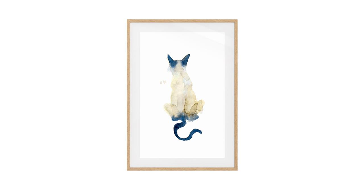 The Porcelain Cat Print Natural Wood Frame Medium