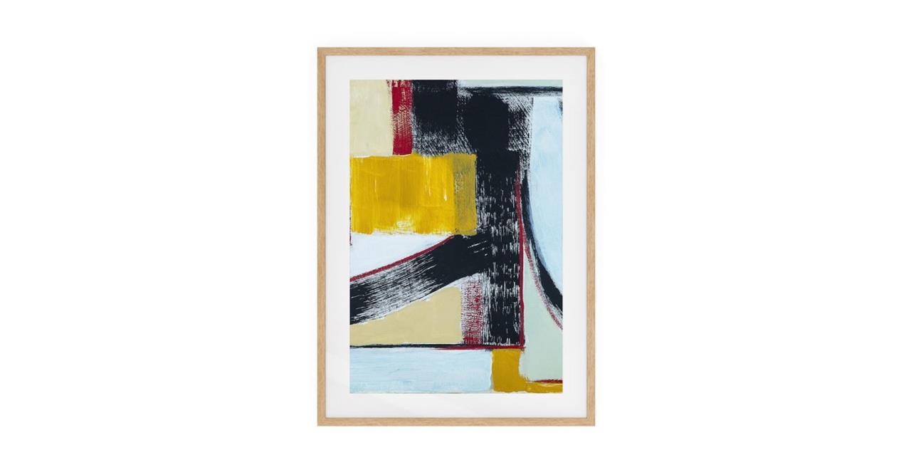 The Farbe Print Natural Wood Frame Medium Yellow