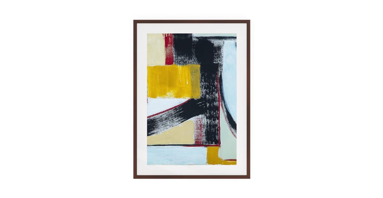 The Farbe Print Dark Brown Wood Frame Medium Yellow