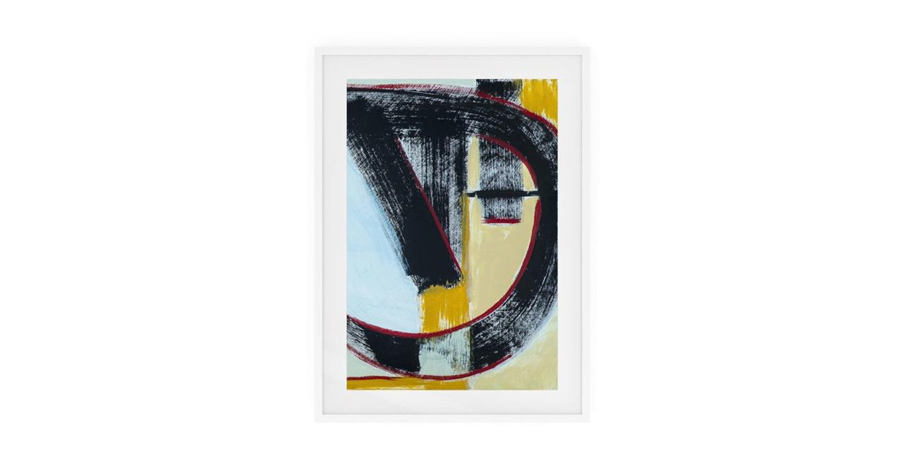 The Farbe Print White Wood Frame Small Blue