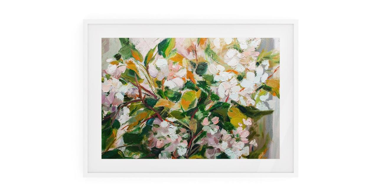 The Floret Print White Wood Frame Small
