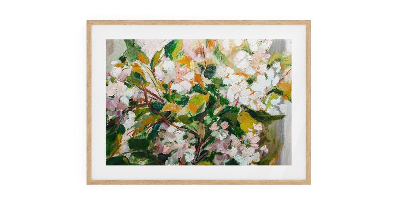 The Floret Print Natural Wood Frame Small