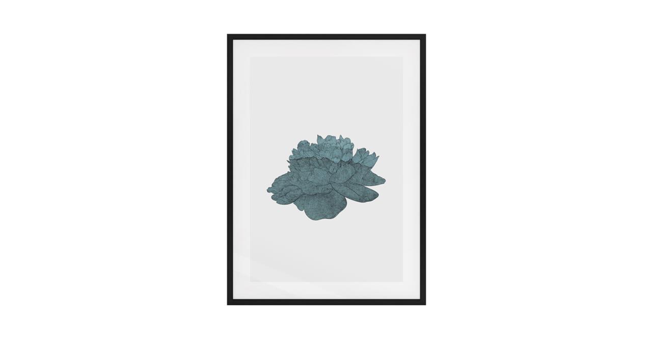 The Flowering Print Black Wood Frame Medium Turquoise