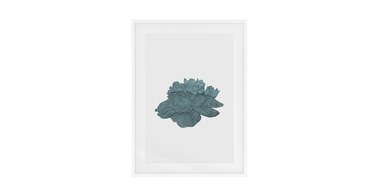 The Flowering Print White Wood Frame Medium Turquoise