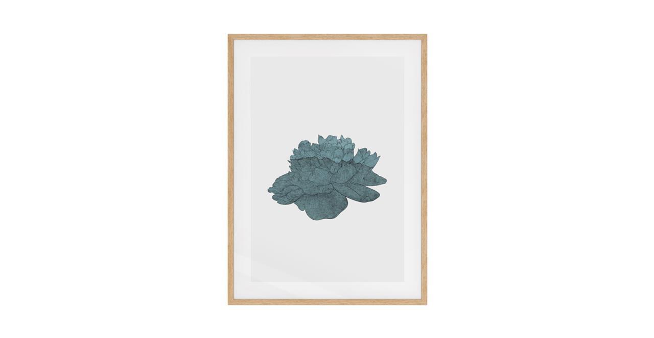 The Flowering Print Natural Wood Frame Medium Turquoise
