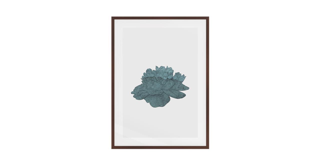The Flowering Print Dark Brown Wood Frame Medium Turquoise