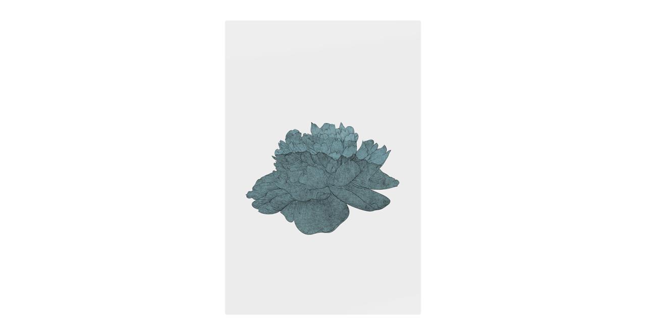 The Flowering Print Metal Print Medium Turquoise