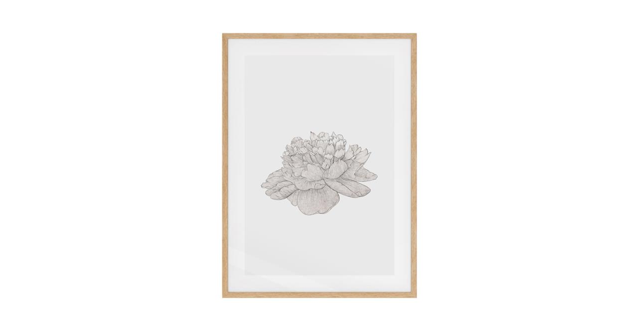 The Flowering Print Natural Wood Frame Small Cream