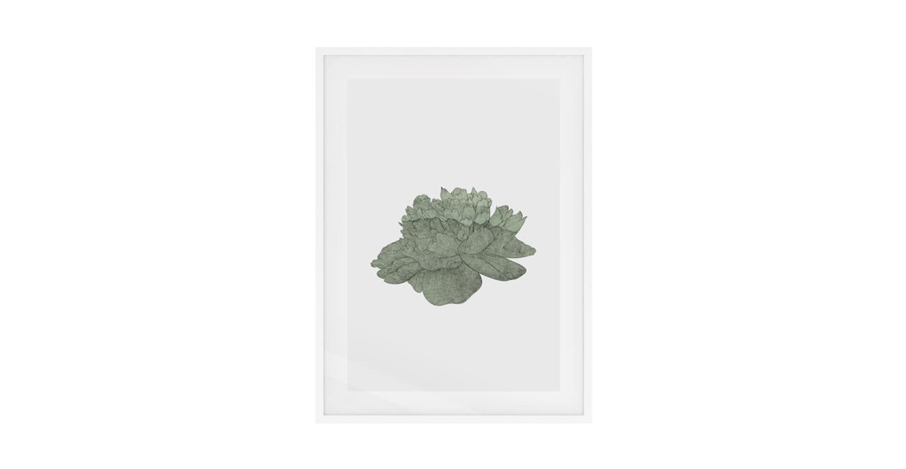 The Flowering Print White Wood Frame Medium Green