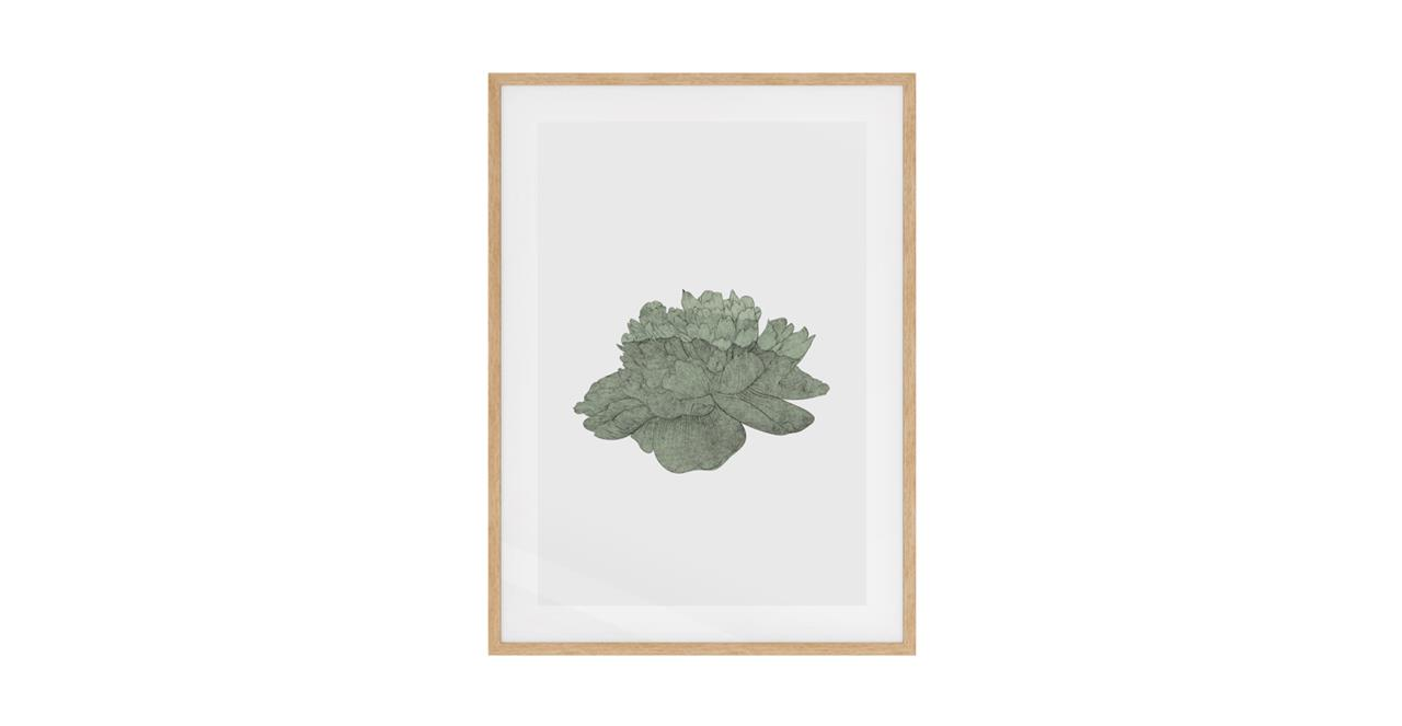 The Flowering Print Natural Wood Frame Medium Green